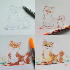 The steps of drawing a dog using Pentel products.